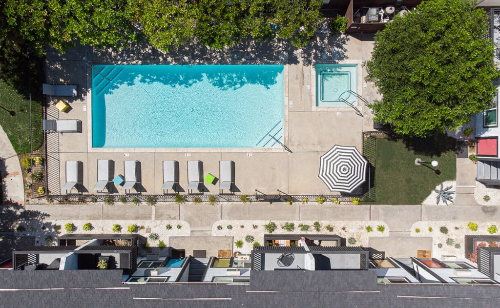 Drone view of the pool at Eastside Apartment